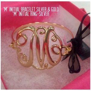 """M"" Bracelets-Silver & Gold, ""M"" Silver Ring,NWT"